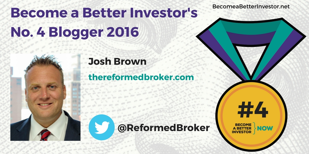 Congratulations @ReformedBroker on becoming the no. 4 Become a Better Investor Blogger 2016!