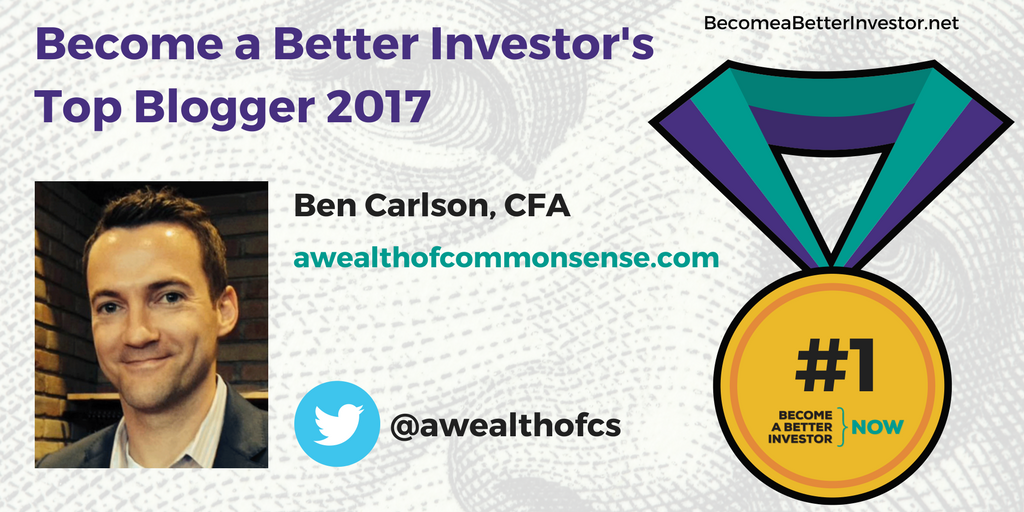 Congratulations @awealthofcs on winning Become a Better Investor's Top Blogger 2017!