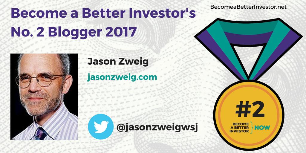Congratulations @jasonzweigwsj on becoming the No. 2 Become a Better Investor Blogger 2017!