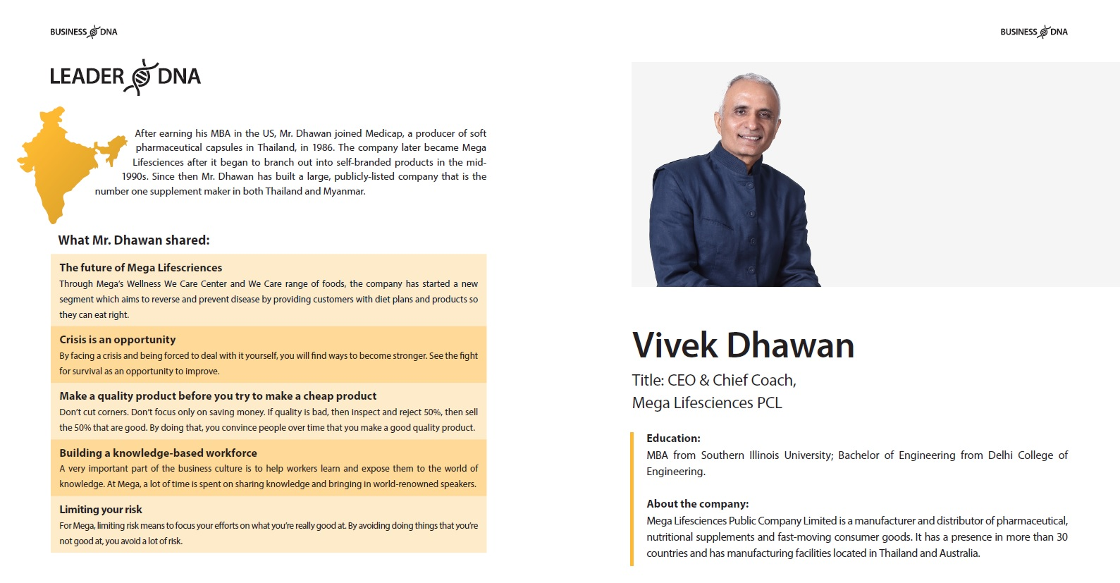 Leader DNA: Vivek Dhawan of Mega Lifesciences #Thailand #BusinessDNA