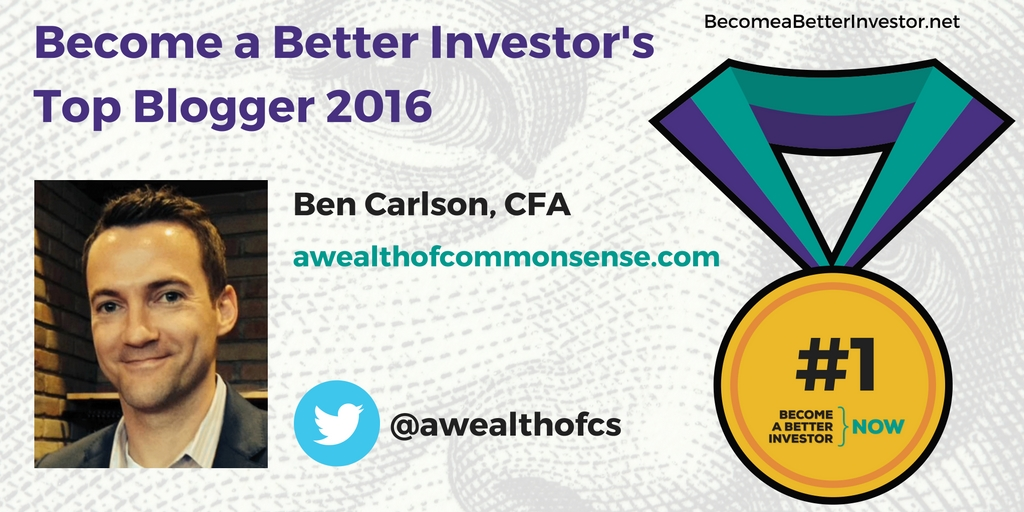 Congratulations @awealthofcs on becoming the no. 1 Become a Better Investor Blogger 2016!