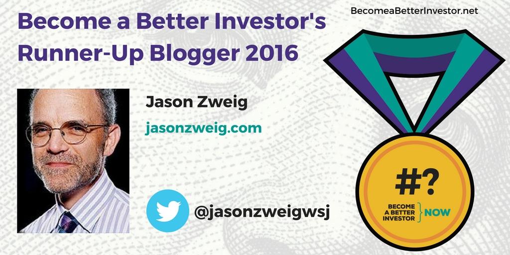 Congratulations @jasonzweigwsj on becoming a runner-up Become a Better Investor Blogger 2016