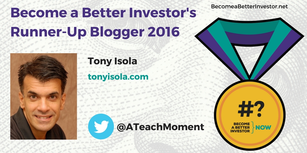 Congratulations @ATeachMoment on becoming a runner-up Become a Better Investor Blogger 2016!
