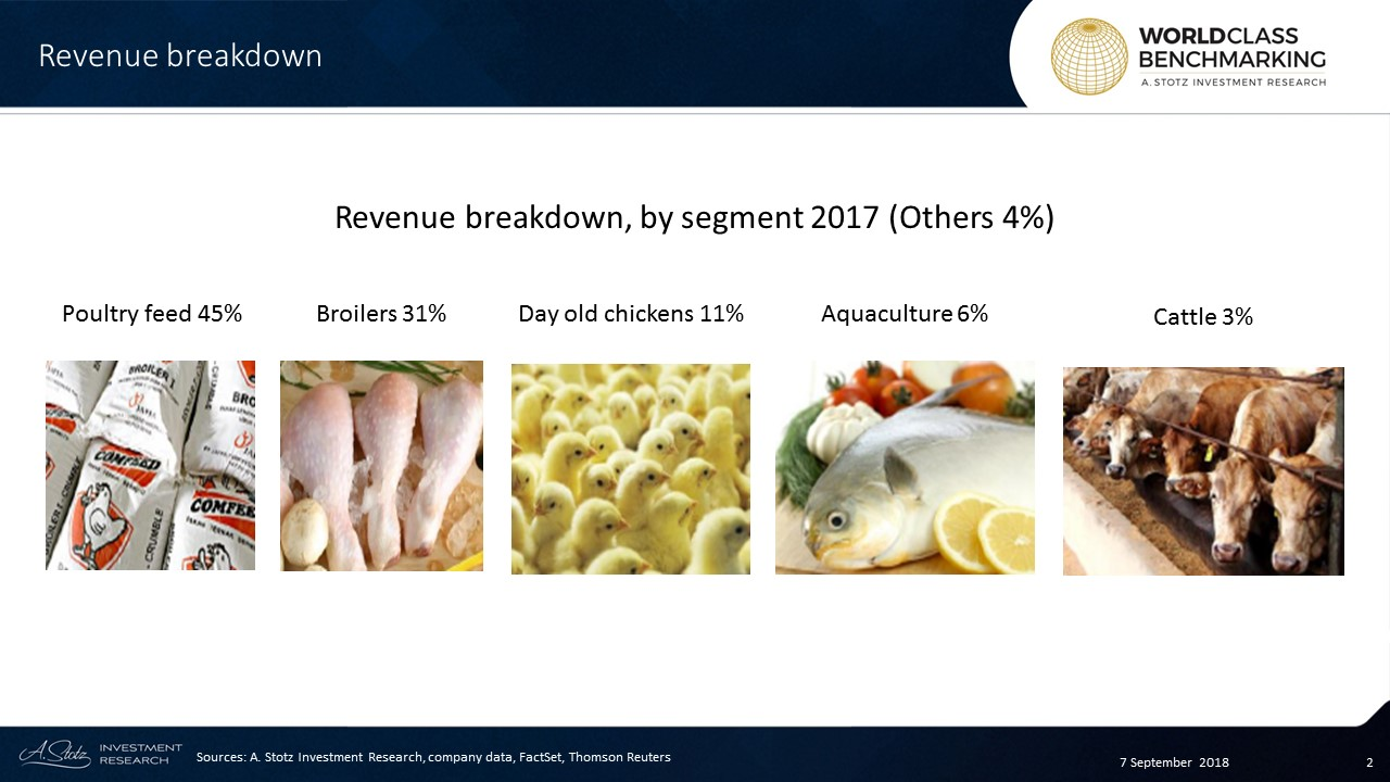 JPFA has five divisions, the biggest of which is poultry feed; it contributes 45% of total company revenue