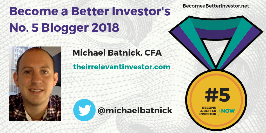 Congratulations @michaelbatnick for making no. 5 in Become a Better Investor's Top 5 Bloggers 2018