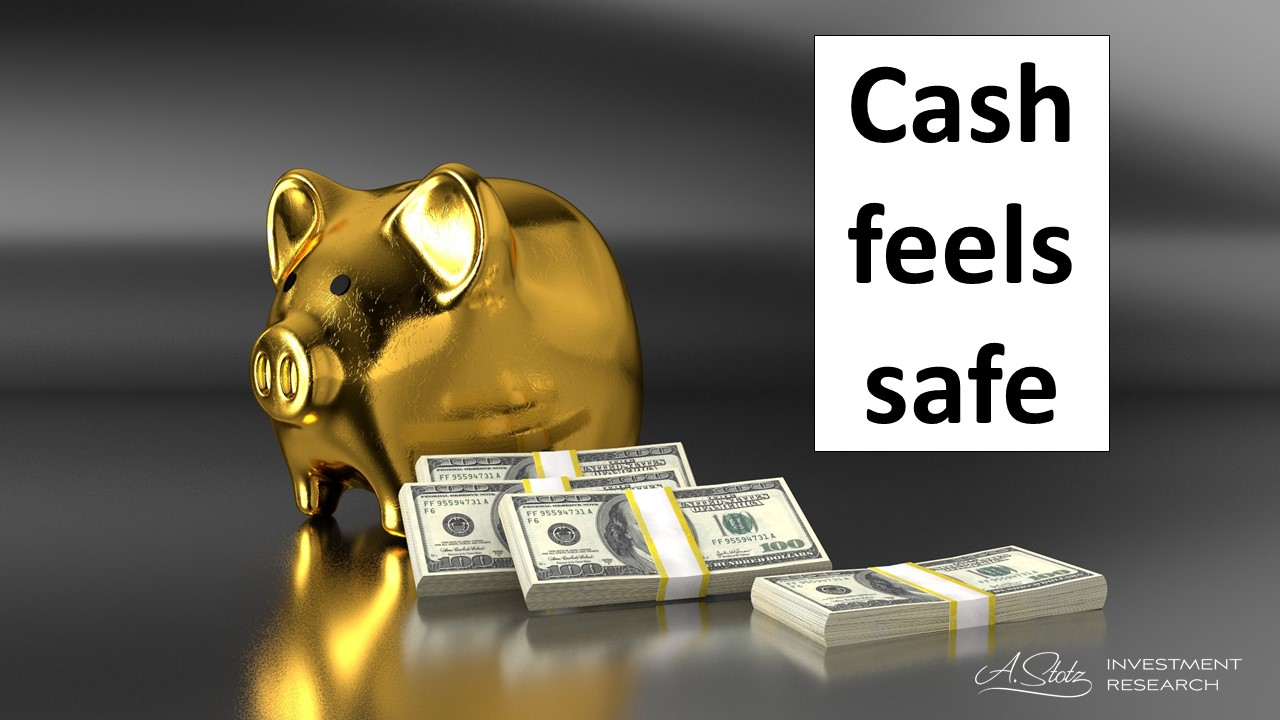 Holding cash feels safe, what you put in your piggy bank, home safe, or mattress today is safe because you can take out in the future.
